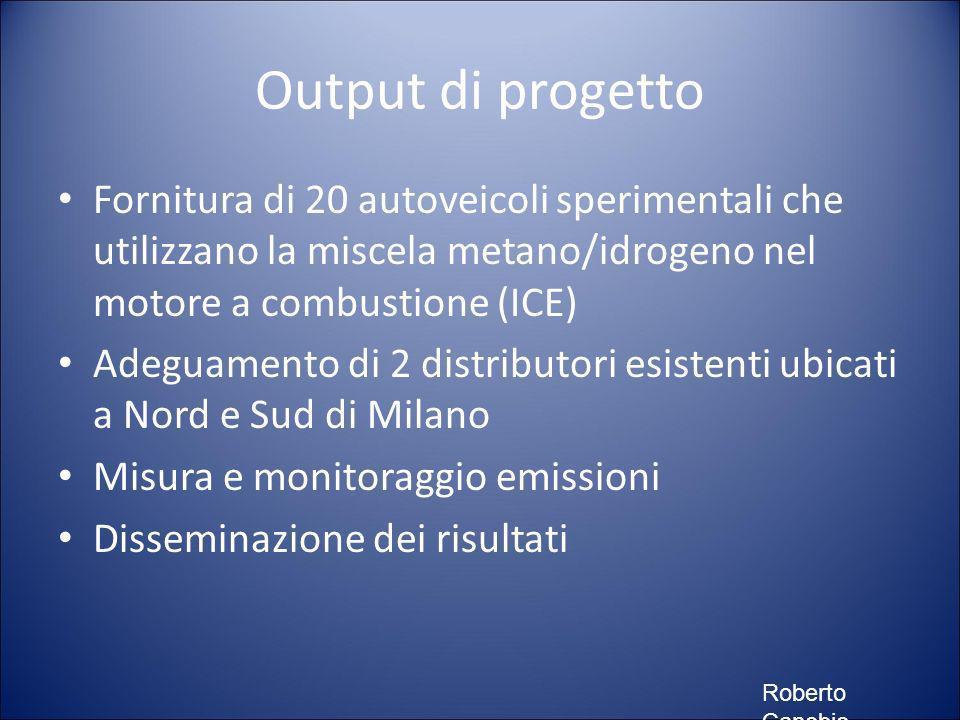 Output di progetto Fornitura di 20 autoveicoli sperimentali che utilizzano la miscela metano/idrogeno nel motore a combustione (ICE) Adeguamento di 2 distributori esistenti ubicati a Nord e Sud di Milano Misura e monitoraggio emissioni Disseminazione dei risultati Roberto Canobio
