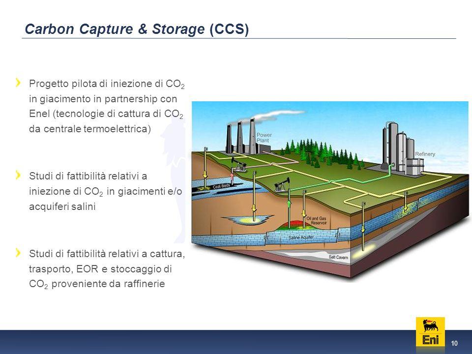 10 Carbon Capture & Storage (CCS) Progetto pilota di iniezione di CO 2 in giacimento in partnership con Enel (tecnologie di cattura di CO 2 da centrale termoelettrica) Studi di fattibilità relativi a iniezione di CO 2 in giacimenti e/o acquiferi salini Studi di fattibilità relativi a cattura, trasporto, EOR e stoccaggio di CO 2 proveniente da raffinerie