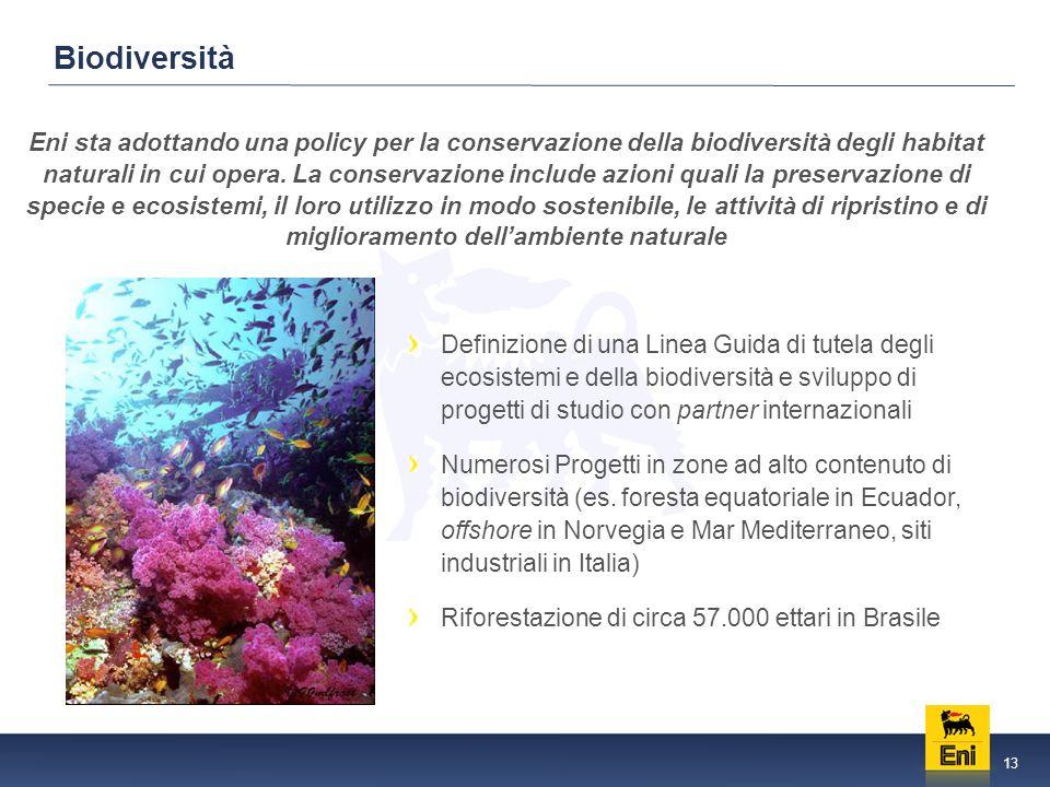 13 Biodiversità Eni sta adottando una policy per la conservazione della biodiversità degli habitat naturali in cui opera.
