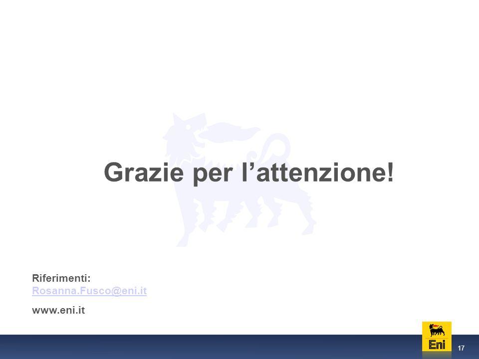 17 Grazie per lattenzione! Riferimenti: Rosanna.Fusco@eni.it Rosanna.Fusco@eni.it www.eni.it