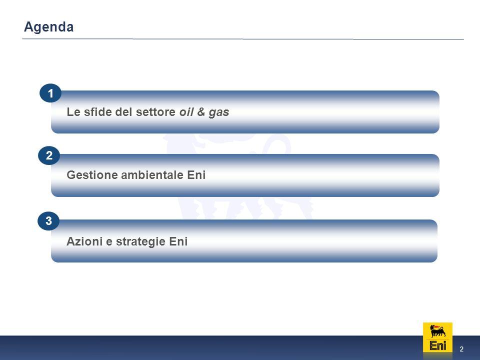 2 Le sfide del settore oil & gas 2 1 3 Azioni e strategie Eni Gestione ambientale Eni Agenda