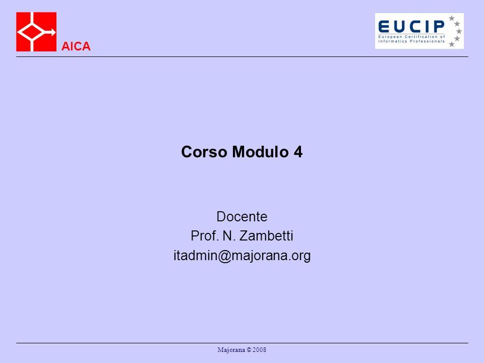 AICA Majorana © 2008 Corso Modulo 4 Docente Prof. N. Zambetti itadmin@majorana.org