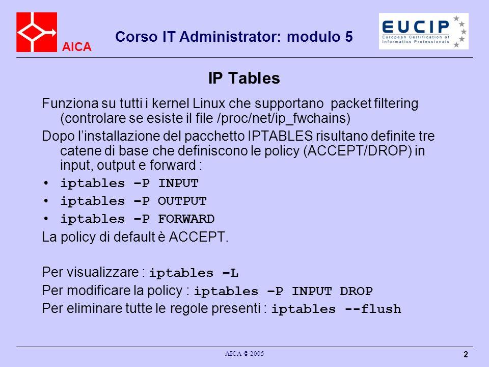 AICA Corso IT Administrator: modulo 5 AICA © 2005 3 IPtable Selezione fatta in base allheader IP –Indirizzo IP del destinatario –Indirizzo IP del mittente Eventualmente in base alle caratteristiche del protocollo trasportato (TCP, UDP, ICMP) –Protocollo TCP, UDP : porta ICMP : tipo e codice
