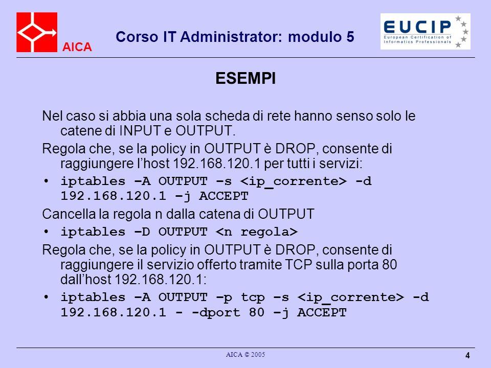 AICA Corso IT Administrator: modulo 5 AICA © 2005 15 PPP Il PPP (Point to Point Protocol) è un meccanismo per creare ed usare IP (l Internet Protocol) ed altri protocolli di rete su un collegamento seriale - sia esso una connessione seriale diretta (usando un cavo null-modem) su una connessione stabilita con telnet, oppure un collegamento fatto tramite modem e linee telefoniche (e usando naturalmente anche linee digitali come ISDN).