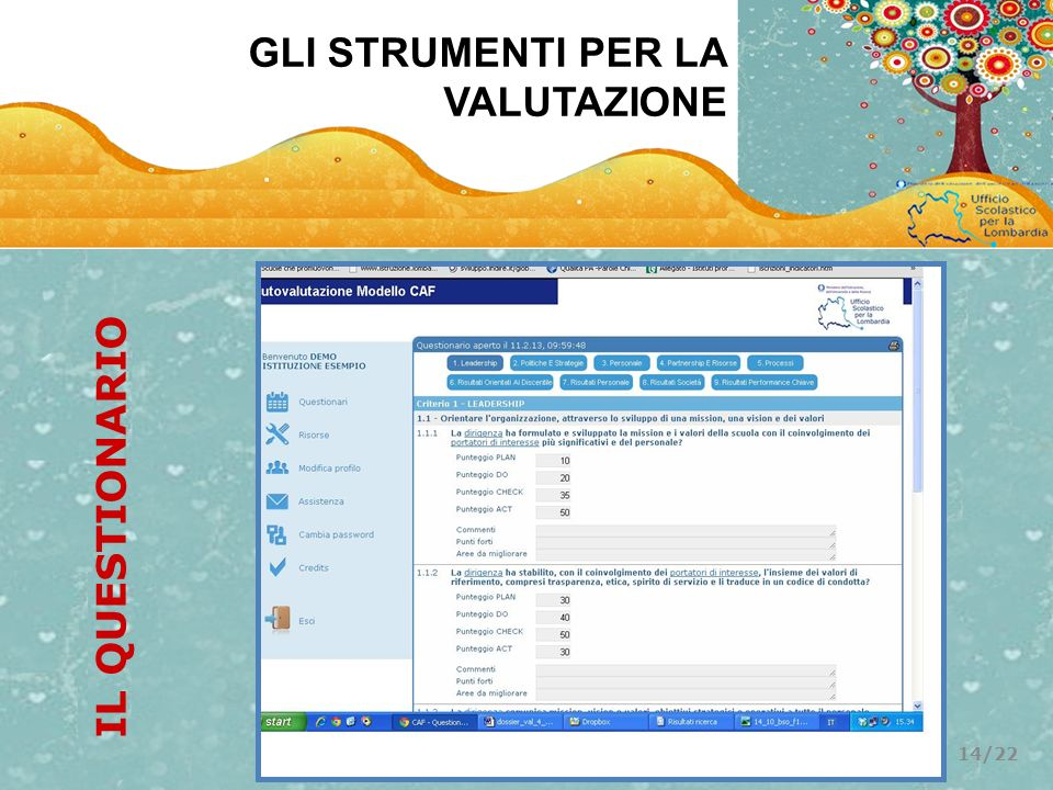 GLI STRUMENTI PER LA VALUTAZIONE IL QUESTIONARIO 14/22