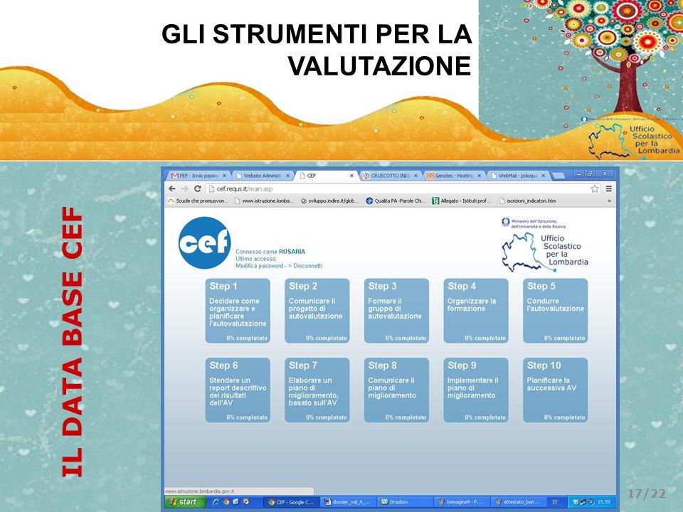 GLI STRUMENTI PER LA VALUTAZIONE IL DATA BASE CEF 17/22