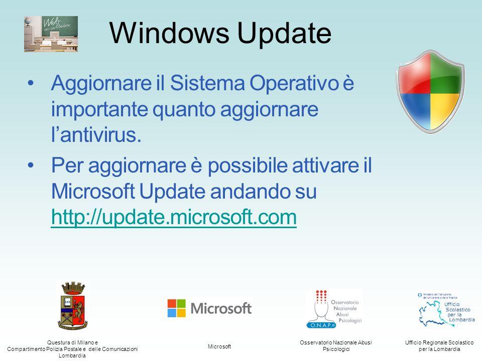 Questura di Milano e Compartimento Polizia Postale e delle Comunicazioni Lombardia Ufficio Regionale Scolastico per la Lombardia Osservatorio Nazionale Abusi Psicologici Microsoft Da Windows XP SP2 è stato introdotto il Centro Sicurezza PC, chiamato Centro Operativo in Windows 7 e Windows 8.