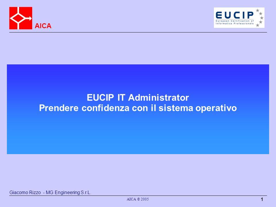 AICA AICA © 2005 1 EUCIP IT Administrator Prendere confidenza con il sistema operativo Giacomo Rizzo - MG Engineering S.r.L.