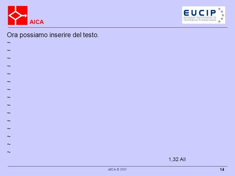 AICA AICA © 2005 14 Ora possiamo inserire del testo. ~ 1,32All