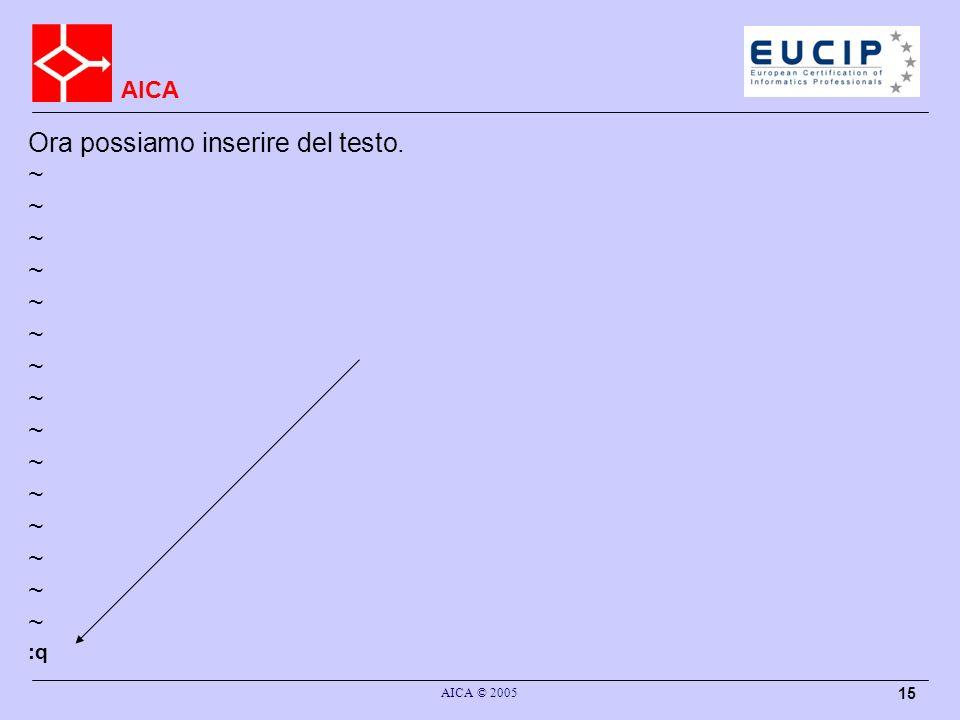 AICA AICA © 2005 15 Ora possiamo inserire del testo. ~ :q