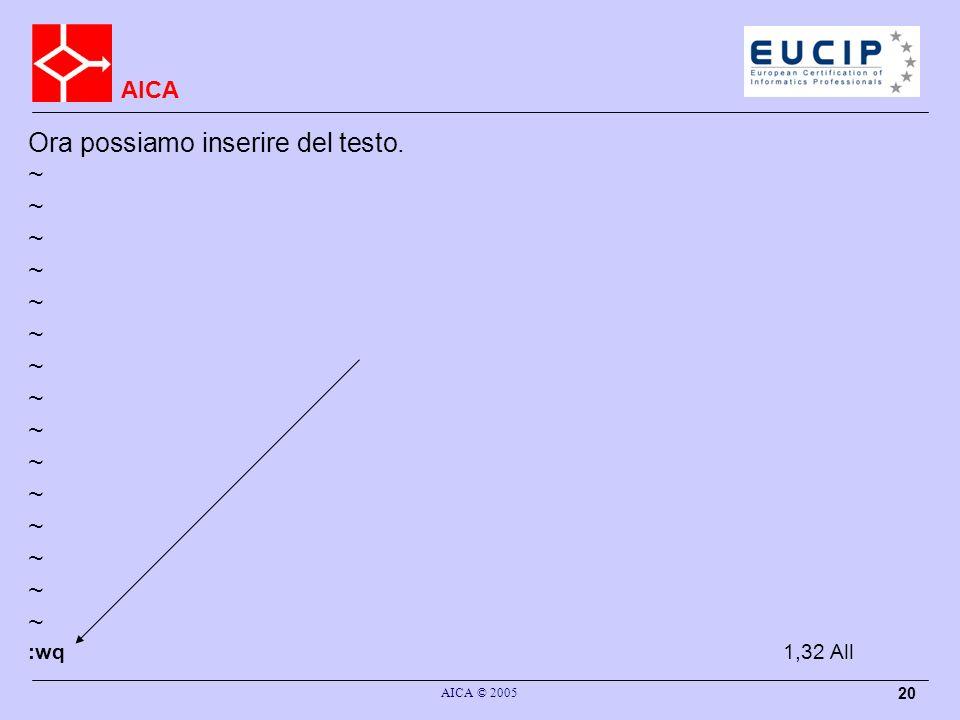 AICA AICA © 2005 20 Ora possiamo inserire del testo. ~ :wq 1,32All