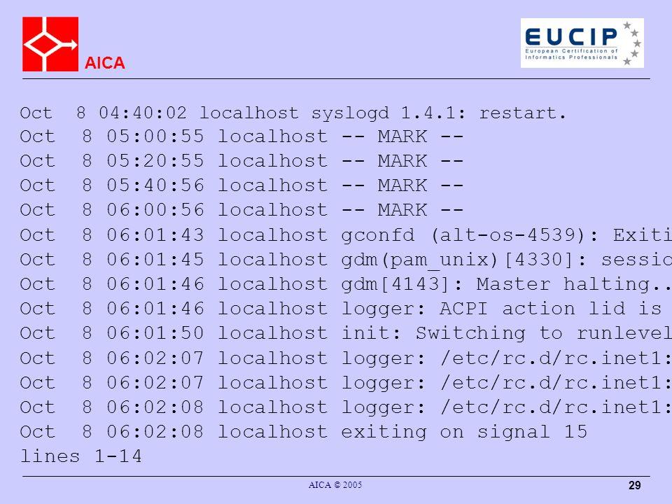 AICA AICA © 2005 29 Oct 8 04:40:02 localhost syslogd 1.4.1: restart.