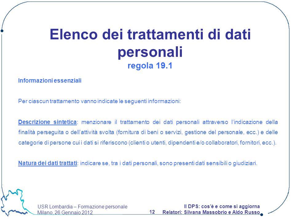 USR Lombardia – Formazione personale Milano, 26 Gennaio 2012 12 Il DPS: cosè e come si aggiorna Relatori: Silvana Massobrio e Aldo Russo Informazioni