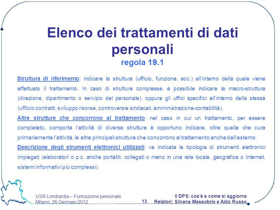 USR Lombardia – Formazione personale Milano, 26 Gennaio 2012 13 Il DPS: cosè e come si aggiorna Relatori: Silvana Massobrio e Aldo Russo Struttura di