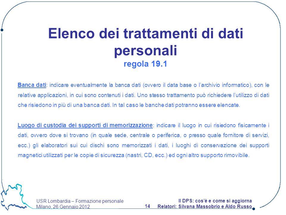 USR Lombardia – Formazione personale Milano, 26 Gennaio 2012 14 Il DPS: cosè e come si aggiorna Relatori: Silvana Massobrio e Aldo Russo Banca dati: i