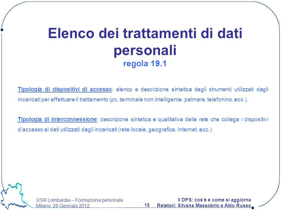 USR Lombardia – Formazione personale Milano, 26 Gennaio 2012 15 Il DPS: cosè e come si aggiorna Relatori: Silvana Massobrio e Aldo Russo Tipologia di