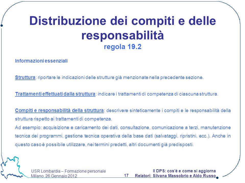 USR Lombardia – Formazione personale Milano, 26 Gennaio 2012 17 Il DPS: cosè e come si aggiorna Relatori: Silvana Massobrio e Aldo Russo Informazioni