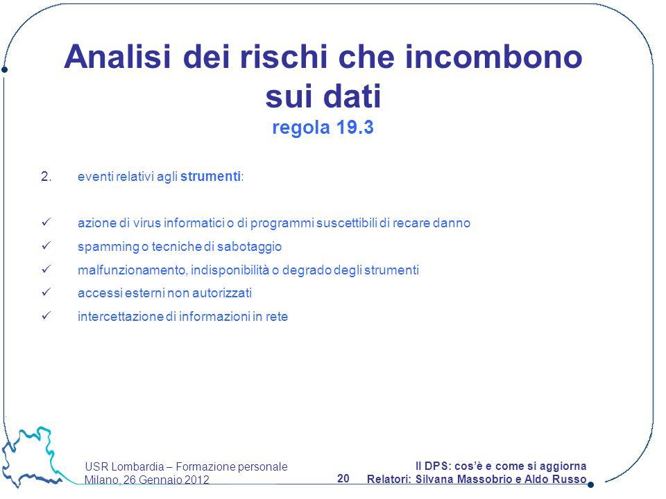 USR Lombardia – Formazione personale Milano, 26 Gennaio 2012 20 Il DPS: cosè e come si aggiorna Relatori: Silvana Massobrio e Aldo Russo 2. eventi rel