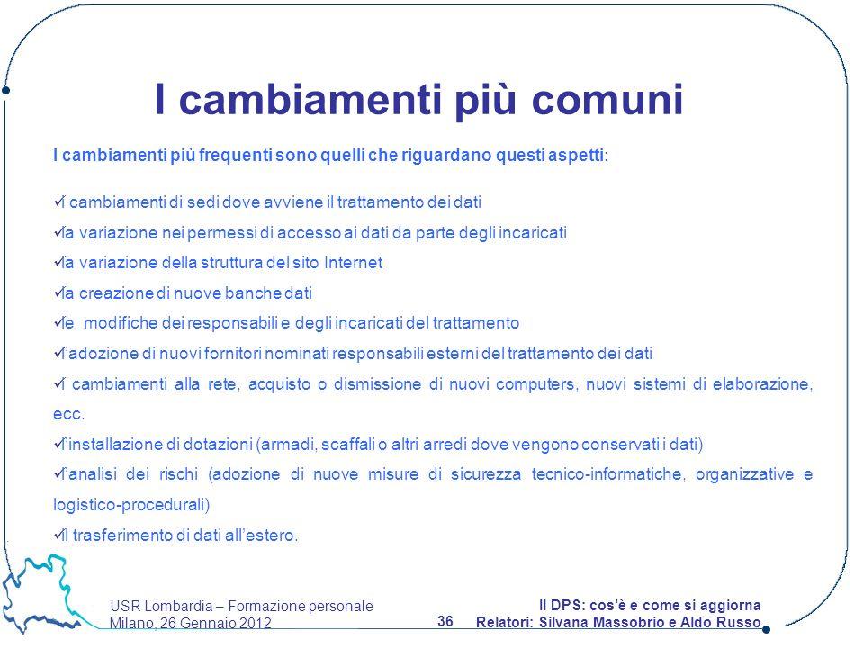 USR Lombardia – Formazione personale Milano, 26 Gennaio 2012 36 Il DPS: cosè e come si aggiorna Relatori: Silvana Massobrio e Aldo Russo I cambiamenti