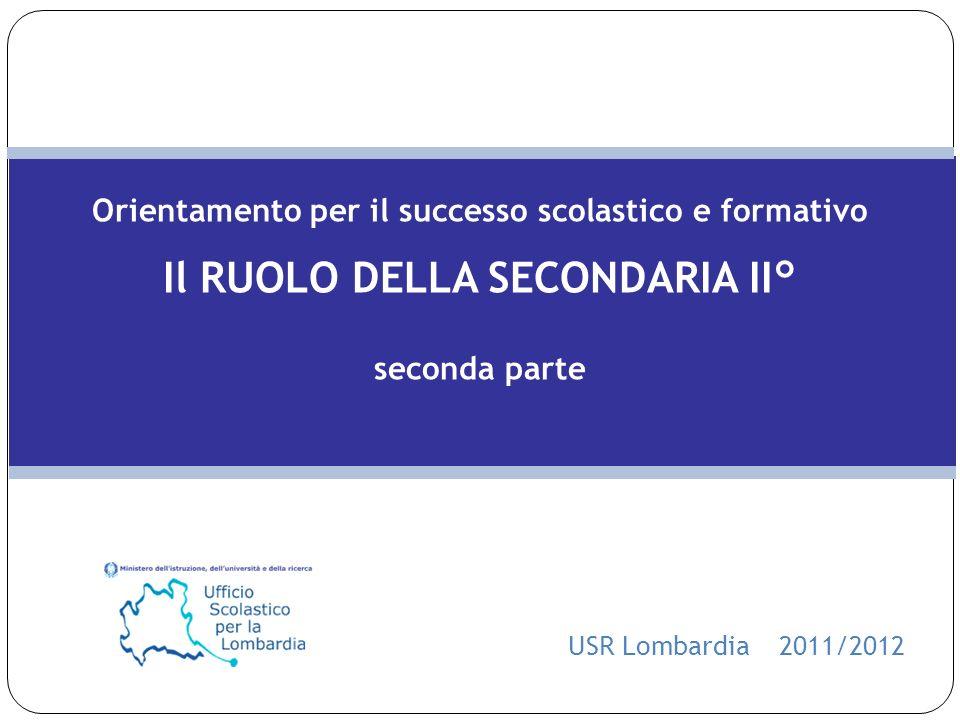 Orientamento per il successo scolastico e formativo Il RUOLO DELLA SECONDARIA II° seconda parte USR Lombardia 2011/2012