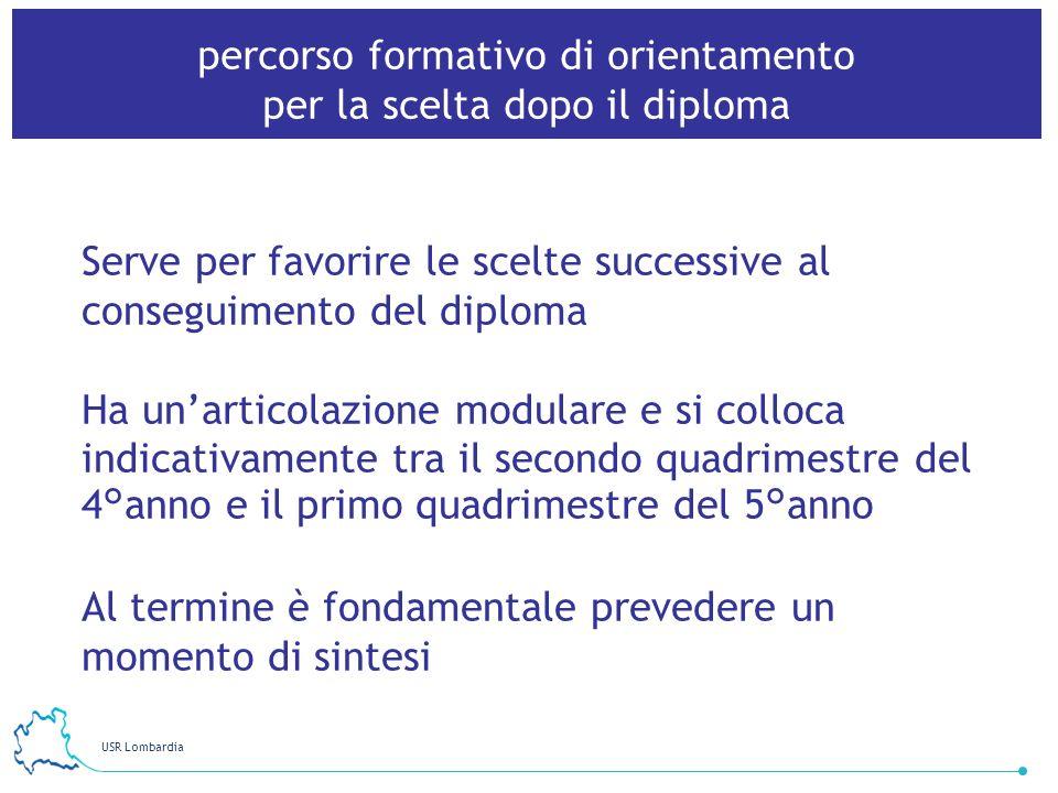 USR Lombardia 11 percorso formativo di orientamento per la scelta dopo il diploma Serve per favorire le scelte successive al conseguimento del diploma