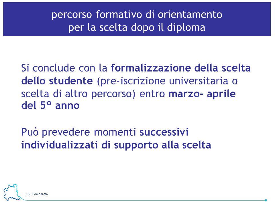 USR Lombardia 12 percorso formativo di orientamento per la scelta dopo il diploma Si conclude con la formalizzazione della scelta dello studente (pre-