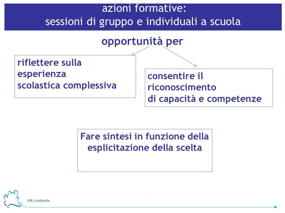USR Lombardia 21 azioni formative: sessioni di gruppo e individuali a scuola opportunità per riflettere sulla esperienza scolastica complessiva consen