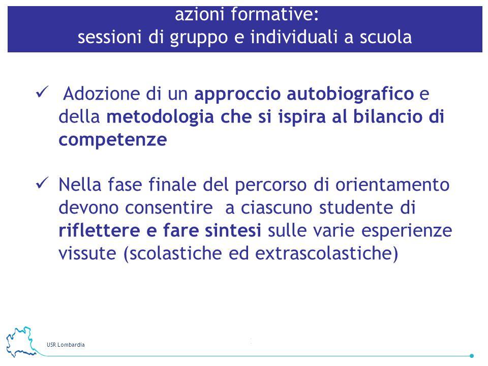 USR Lombardia 22 azioni formative: sessioni di gruppo e individuali a scuola Adozione di un approccio autobiografico e della metodologia che si ispira