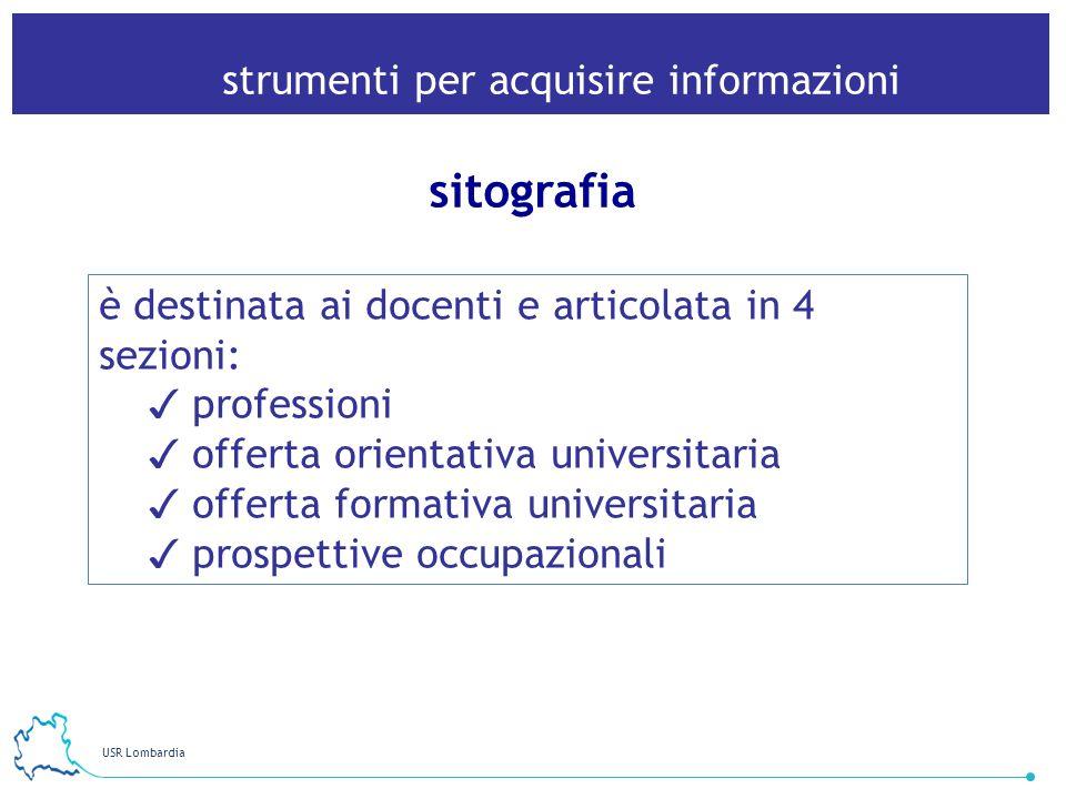USR Lombardia 27 strumenti per acquisire informazioni sitografia è destinata ai docenti e articolata in 4 sezioni: professioni offerta orientativa uni