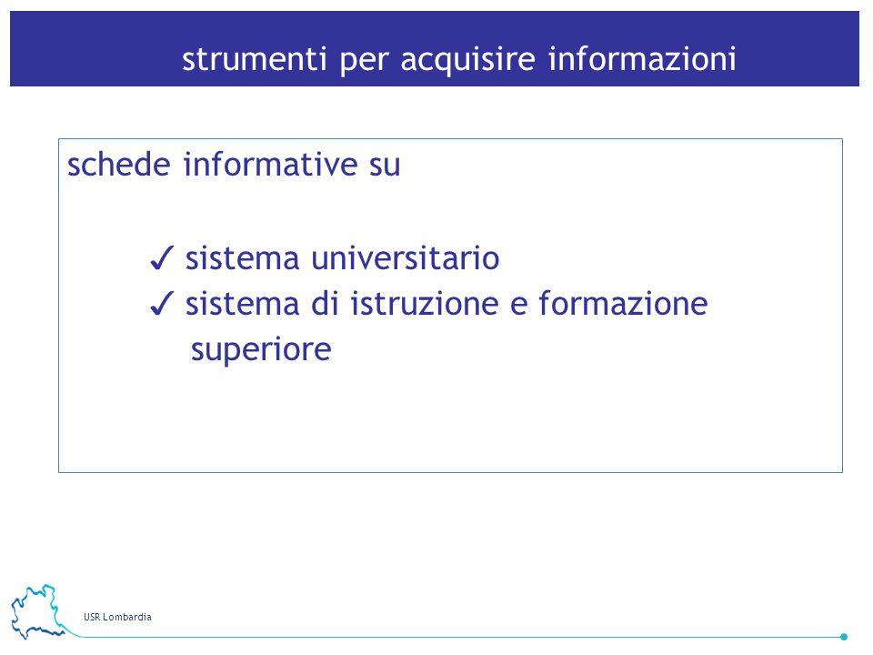 USR Lombardia 28 strumenti per acquisire informazioni schede informative su sistema universitario sistema di istruzione e formazione superiore