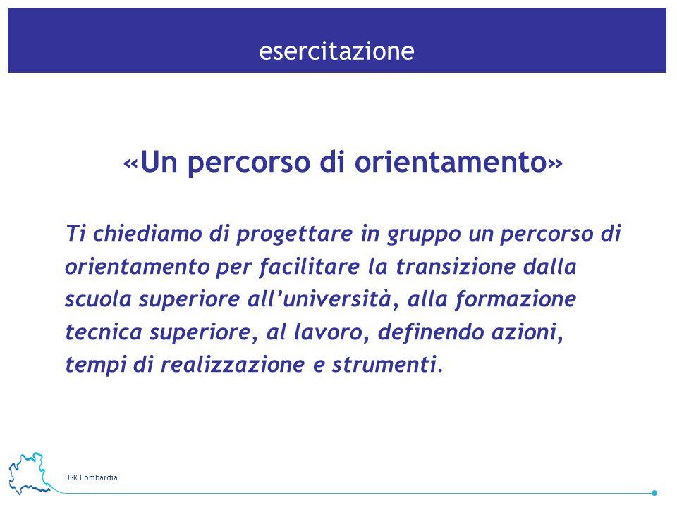 USR Lombardia 30 esercitazione «Un percorso di orientamento» Ti chiediamo di progettare in gruppo un percorso di orientamento per facilitare la transi