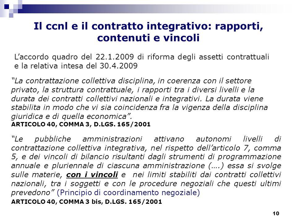 10 La contrattazione collettiva disciplina, in coerenza con il settore privato, la struttura contrattuale, i rapporti tra i diversi livelli e la durat