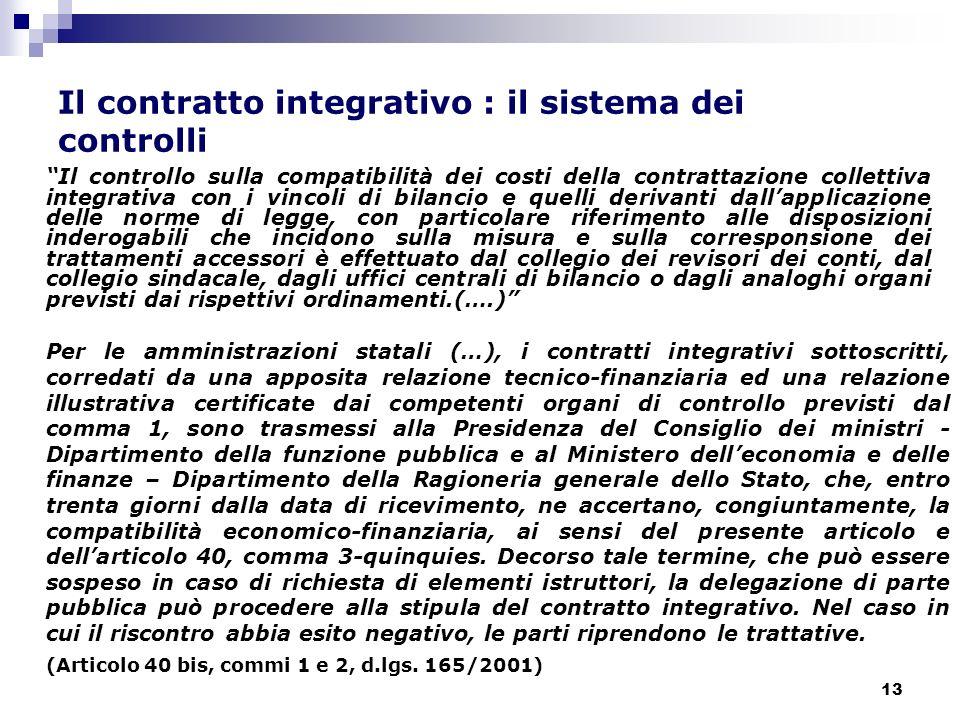 13 Il contratto integrativo : il sistema dei controlli Il controllo sulla compatibilità dei costi della contrattazione collettiva integrativa con i vi