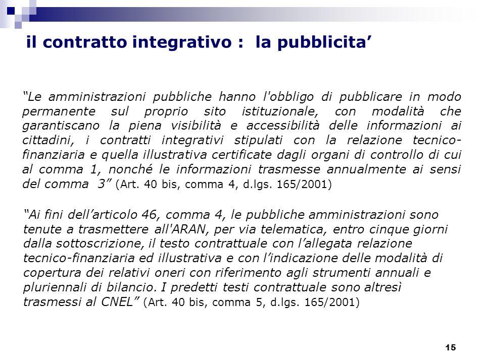15 Le amministrazioni pubbliche hanno l'obbligo di pubblicare in modo permanente sul proprio sito istituzionale, con modalità che garantiscano la pien