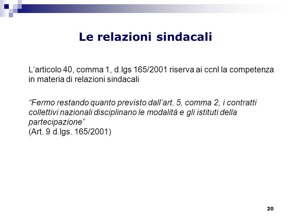 20 Le relazioni sindacali Larticolo 40, comma 1, d.lgs 165/2001 riserva ai ccnl la competenza in materia di relazioni sindacali Fermo restando quanto