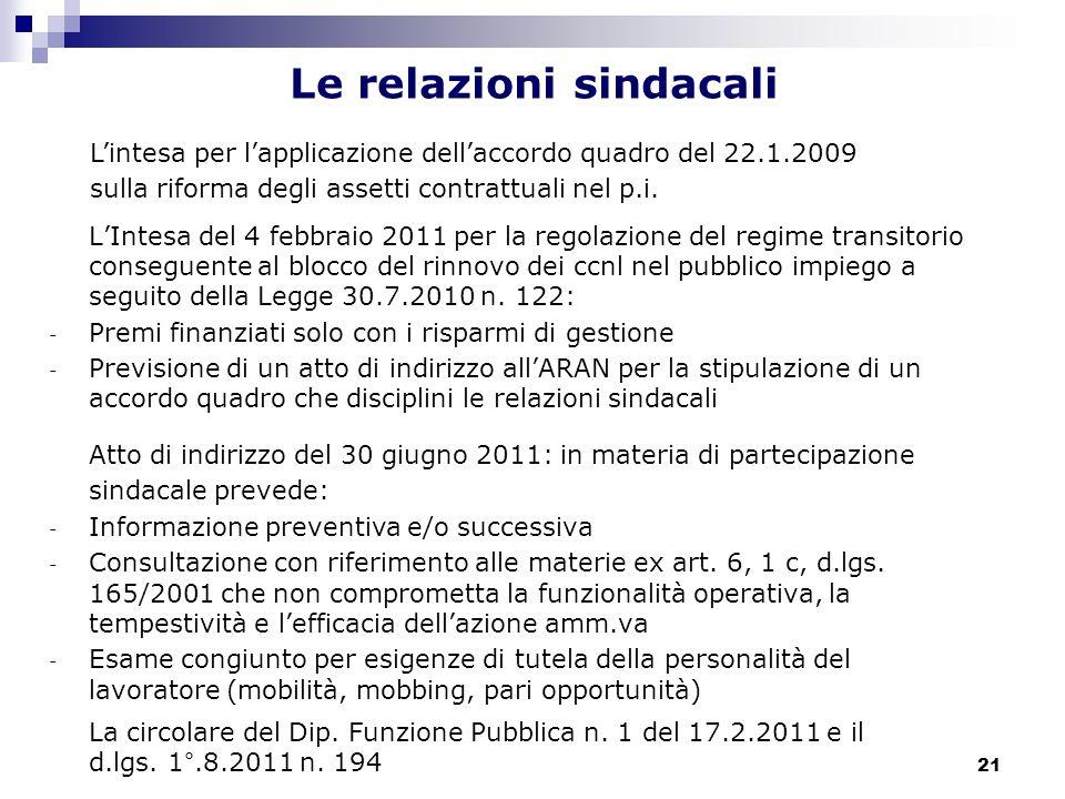 21 Le relazioni sindacali LIntesa del 4 febbraio 2011 per la regolazione del regime transitorio conseguente al blocco del rinnovo dei ccnl nel pubblic