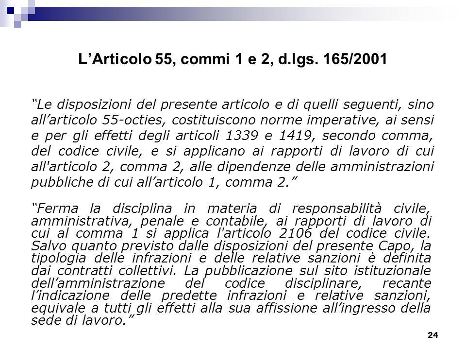 24 LArticolo 55, commi 1 e 2, d.lgs. 165/2001 Ferma la disciplina in materia di responsabilità civile, amministrativa, penale e contabile, ai rapporti