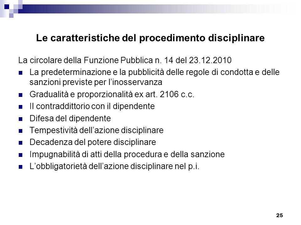 25 Le caratteristiche del procedimento disciplinare La circolare della Funzione Pubblica n. 14 del 23.12.2010 La predeterminazione e la pubblicità del