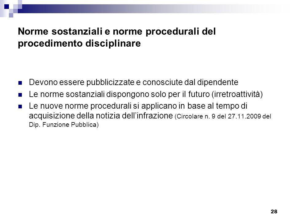 28 Norme sostanziali e norme procedurali del procedimento disciplinare Devono essere pubblicizzate e conosciute dal dipendente Le norme sostanziali di