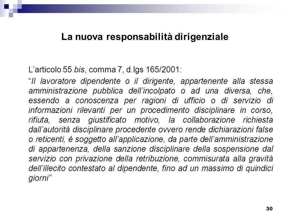 30 La nuova responsabilità dirigenziale Larticolo 55 bis, comma 7, d.lgs 165/2001: Il lavoratore dipendente o il dirigente, appartenente alla stessa a