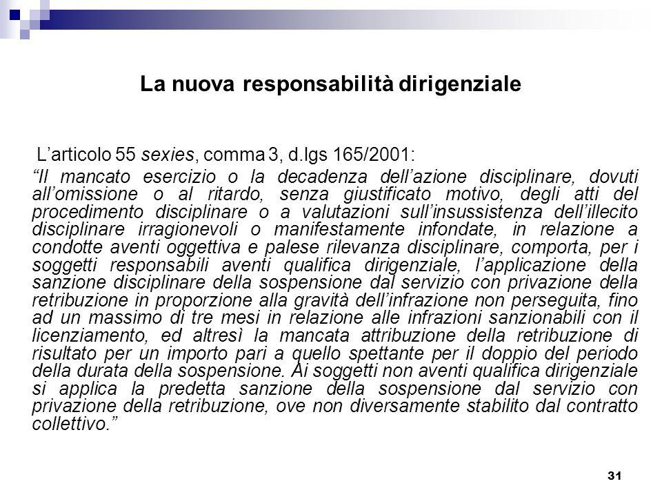 31 La nuova responsabilità dirigenziale Larticolo 55 sexies, comma 3, d.lgs 165/2001: Il mancato esercizio o la decadenza dellazione disciplinare, dov