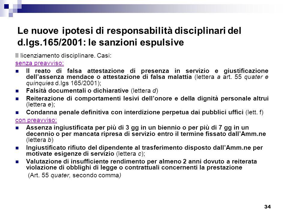 34 Le nuove ipotesi di responsabilità disciplinari del d.lgs.165/2001: le sanzioni espulsive Il licenziamento disciplinare. Casi: senza preavviso: Il