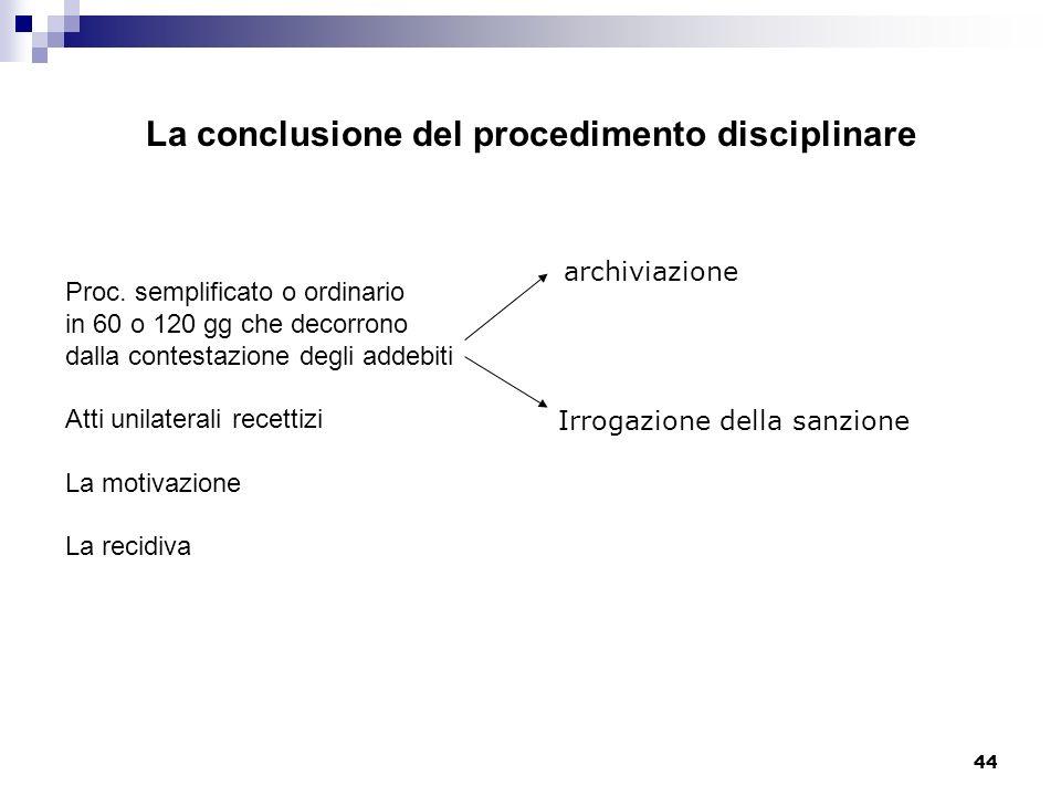 44 La conclusione del procedimento disciplinare Proc. semplificato o ordinario in 60 o 120 gg che decorrono dalla contestazione degli addebiti Atti un
