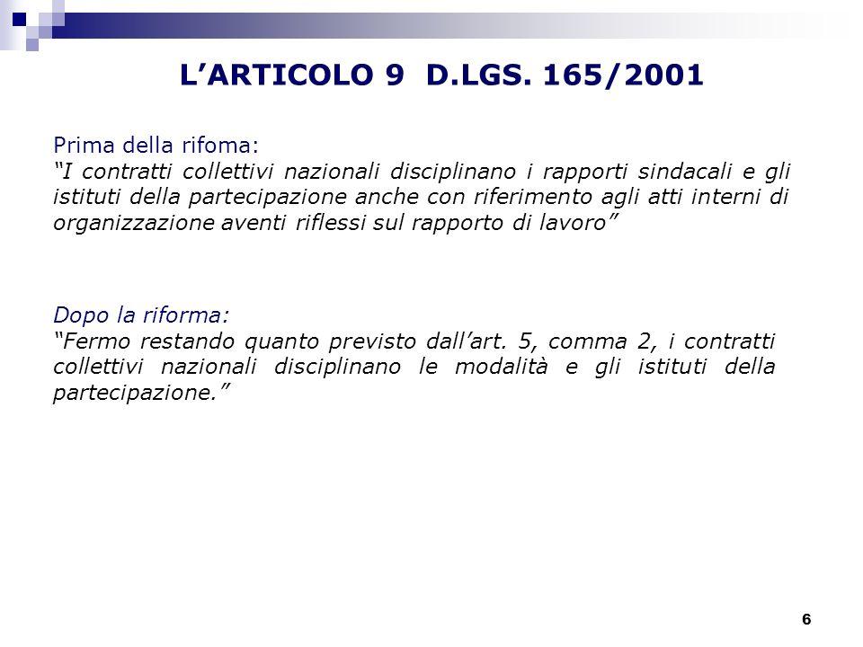 6 LARTICOLO 9 D.LGS. 165/2001 Prima della rifoma: I contratti collettivi nazionali disciplinano i rapporti sindacali e gli istituti della partecipazio