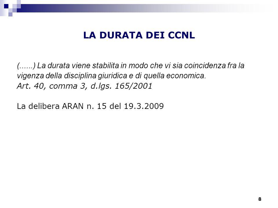 8 LA DURATA DEI CCNL (......) La durata viene stabilita in modo che vi sia coincidenza fra la vigenza della disciplina giuridica e di quella economica