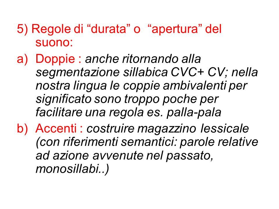 5) Regole di durata o apertura del suono: a)Doppie : anche ritornando alla segmentazione sillabica CVC+ CV; nella nostra lingua le coppie ambivalenti