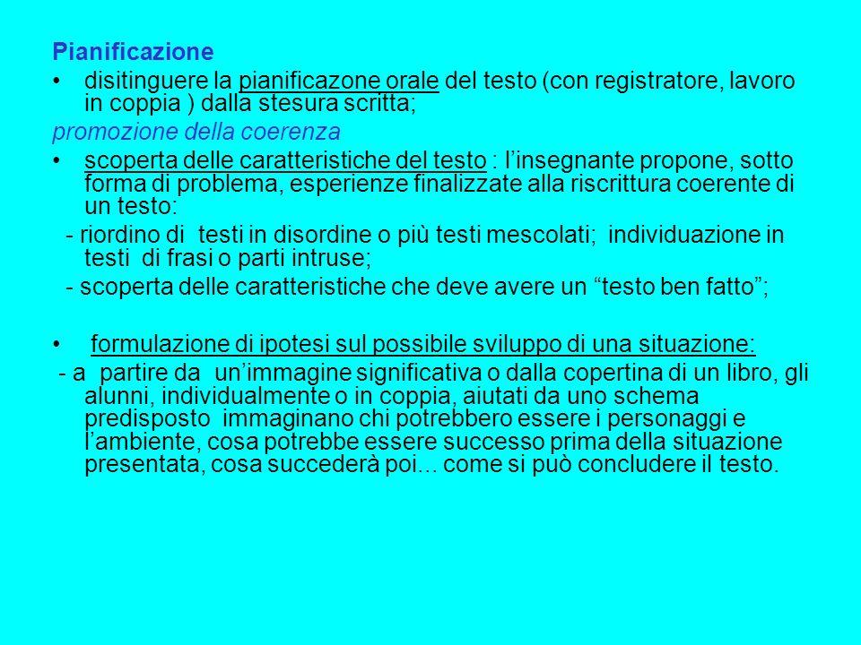 Pianificazione disitinguere la pianificazone orale del testo (con registratore, lavoro in coppia ) dalla stesura scritta; promozione della coerenza sc