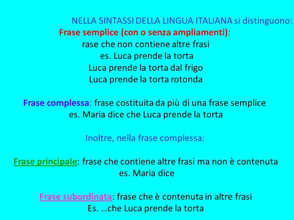 NELLA SINTASSI DELLA LINGUA ITALIANA si distinguono: Frase semplice (con o senza ampliamenti): rase che non contiene altre frasi es. Luca prende la to