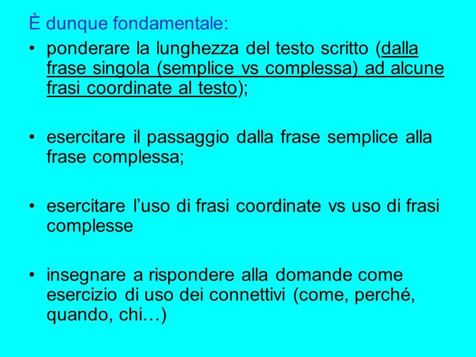 È dunque fondamentale: ponderare la lunghezza del testo scritto (dalla frase singola (semplice vs complessa) ad alcune frasi coordinate al testo); ese