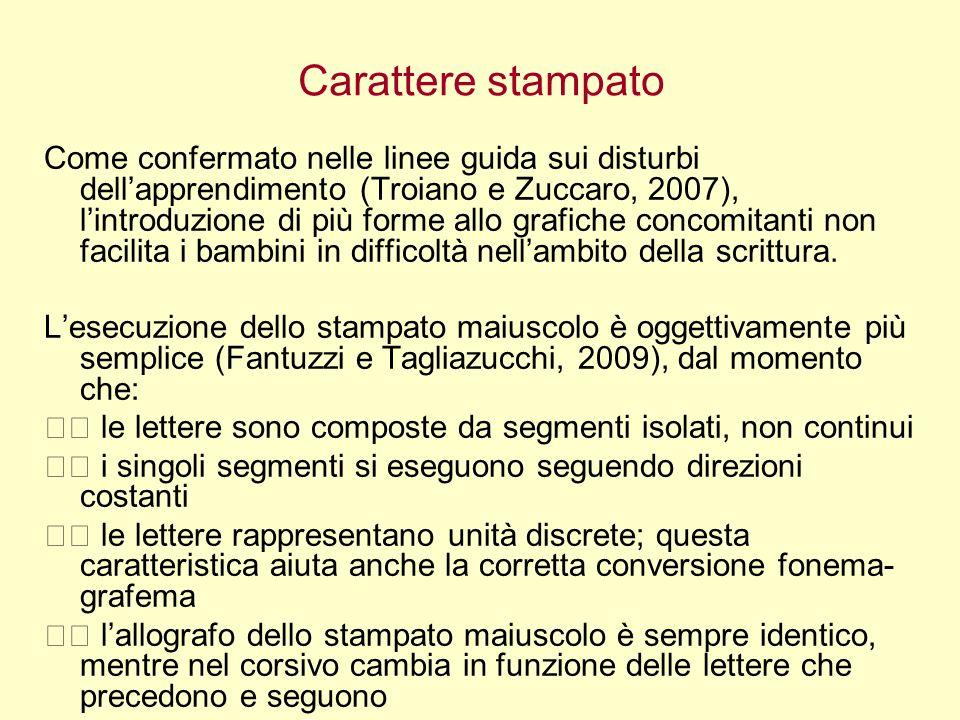 Carattere stampato Come confermato nelle linee guida sui disturbi dellapprendimento (Troiano e Zuccaro, 2007), lintroduzione di più forme allo grafich